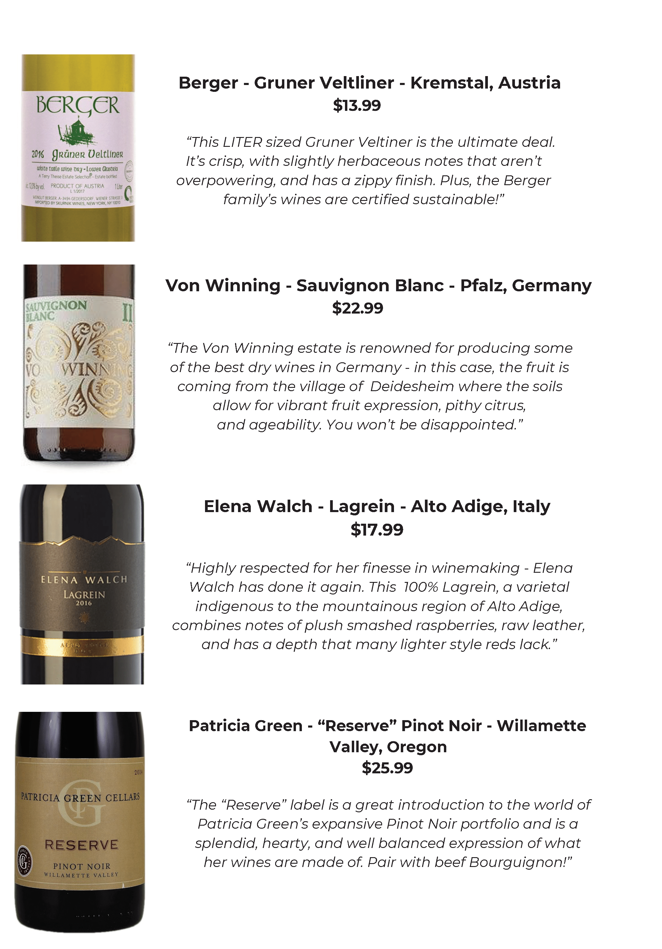Wine Recommendations from SoPo Wine Co