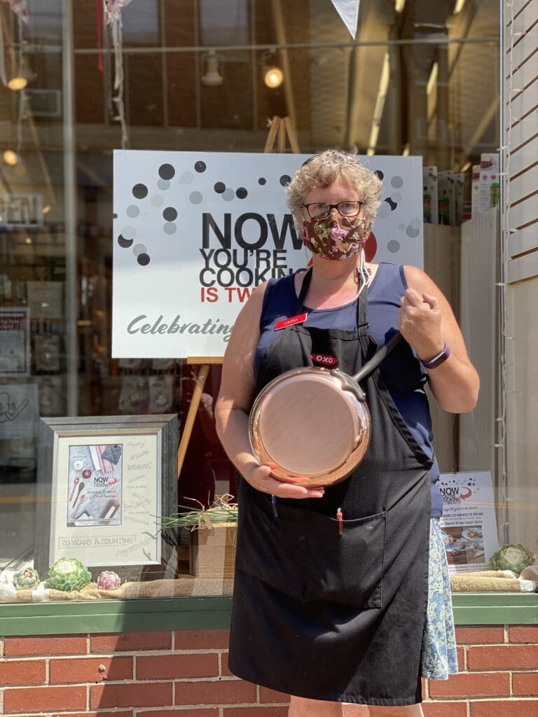 Louisa holding a 10in Mauviel Copper Skillet