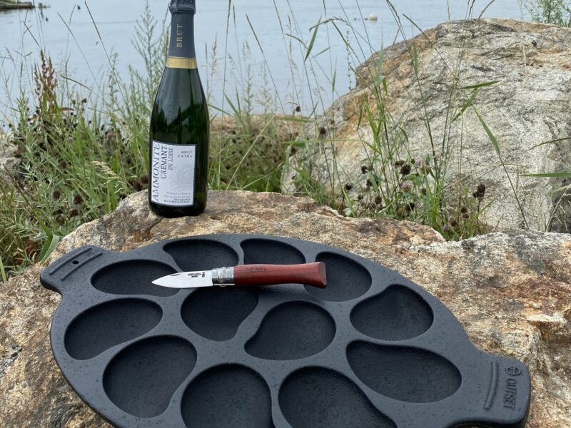 Oyster Grill Pan with Opinel Knife