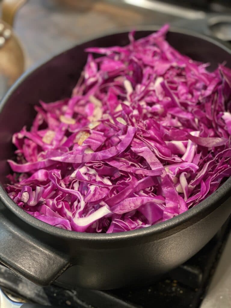 Red Cabbage being made into Rotkohl