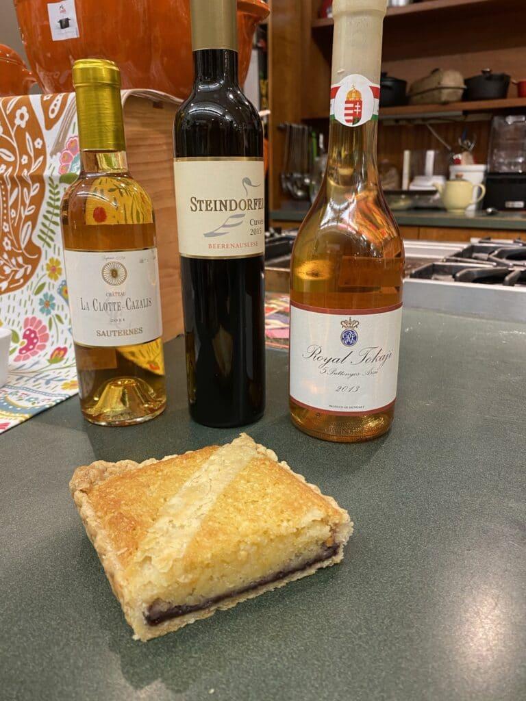 Bakewell Tart with wine