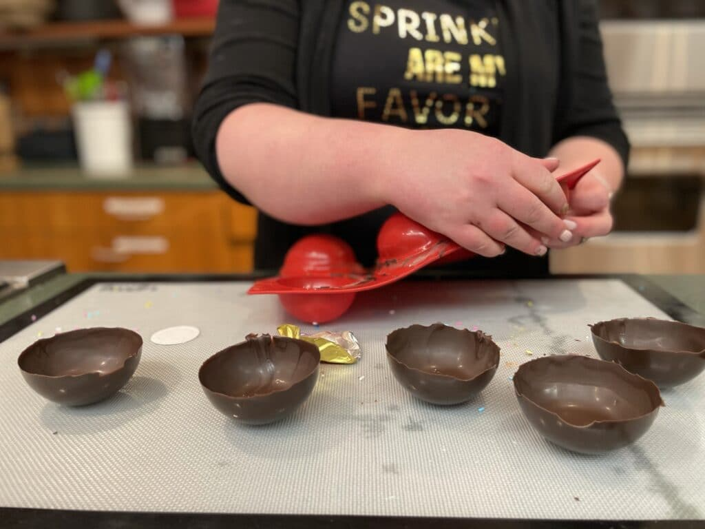 Removing Chocolate Spheres from Mold