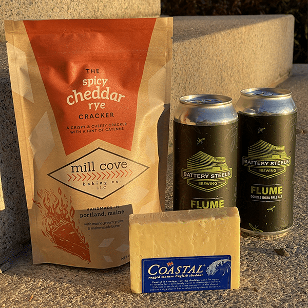 Mill Cove Crackers, Cheese, and Battery Steele Beer