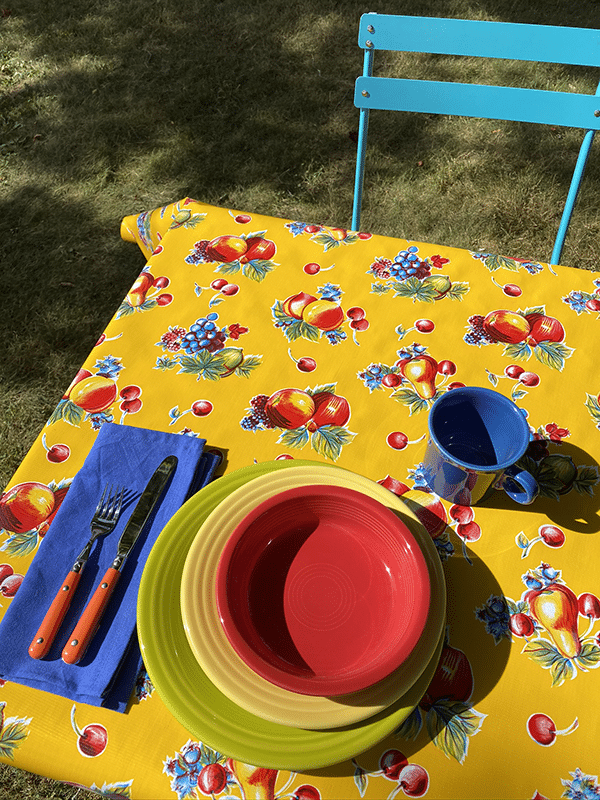 Fiestaware on a table